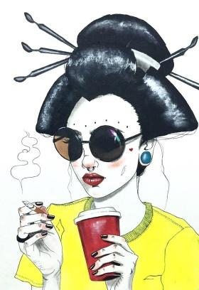 日本插画家Harumi Hironaka 叛逆少女系列