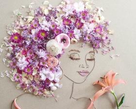 树枝和鲜花创作的肖像画  Vicki Rawlins